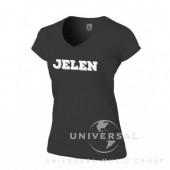 Jelen - Tričko černé dámské,  skinny fit (M) - Logo